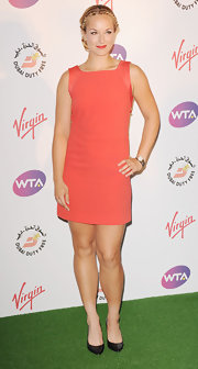 Sabine Lisicki finished off her coral shift with fierce black pointy toe pumps.