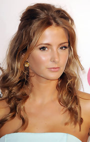 'Made in Chelsea' star Millie Mackintosh had her wavy tresses half-up at the Pre-Wimbledon Party.