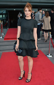 Dianna Agron sported a tiered black dress for her look at the premiere of 'The Bling Ring.'