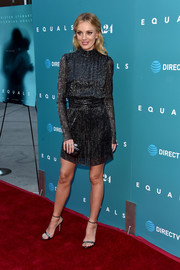 Bar Paly looked effortlessly chic in a shiny turtleneck LBD by Rebecca Vallance that she paired with an Amber Sceats Double Bow Ring at the premiere of 'Equals.'