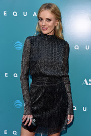 Bar Paly matched a black Rocco Barocco hard-case clutch with a high-neck LBD for the premiere of 'Equals.'