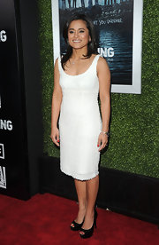 Veena Sud wore this simple white cocktail dress with a touchable texture to the season premiere of 'The Killing.'