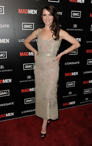 Janie Bryant shined at the 'Mad Men' season premiere in this glimmering beaded dress.