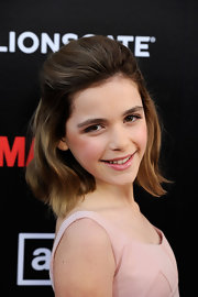 Kiernan Shipka swept back her hair into a half-up 'do featuring longer waves for the fifth season premiere of 'Mad Men.'