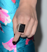 Jessica Pare chose this square-shaped black onyx and diamond ring for her red carpet look.