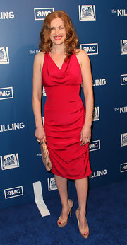 Mireille wore this ruby red drape-necked frock to the premiere of 'The Killing.'