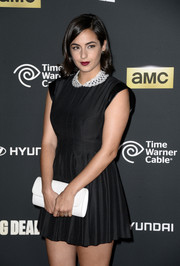 Alanna Masterson went for a youthful look with this super-short LBD featuring a white lace Peter Pan collar and a fit-and-flare silhouette during the 'Walking Dead' season 4 premiere.