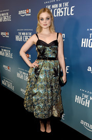 Bella Heathcote looked dazzling in a metallic cocktail dress by Marc Jacobs at the premiere of 'The Man in the High Castle' season 2.