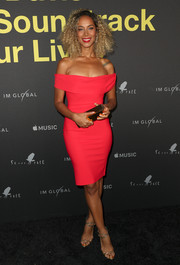 Leona Lewis sheathed her figure in a red off-the-shoulder dress by Greta Constantine for the premiere of 'Clive Davis: The Soundtrack of Our Lives.'