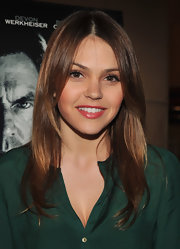 Aimee Teegarden wore a touch of shimmery watermelon pink lip color to the premiere of 'Beneath the Darkness.