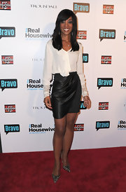 Shaun Robinson paired her sultry monochromatic look at 'The Real Housewives of Beverly Hills' series party in pointy leopard print pumps.