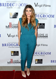 Molly Tarlov sported a breezy cerulean jumpsuit by American Apparel during the premiere of 'Bridegroom.'