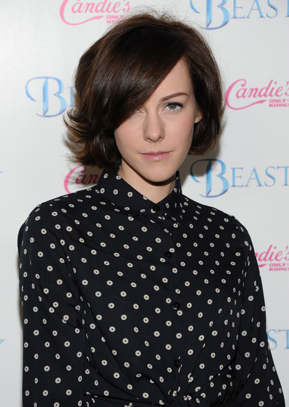 More Pics of Jena Malone Box Clutch (5 of 7) - Clutches Lookbook - StyleBistro [beastly,hair,polka dot,hairstyle,pattern,bangs,brown hair,design,forehead,bob cut,neck,arrivals,jena malone,cbs films beastly,los angeles,california,the grove,cbs films,premiere,premiere]