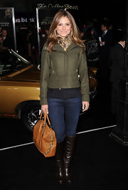 Maria Menounos looked casual chic in knee high brown boots. The leather boots were the perfect complement to Maria's olive jacket.