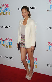 Jamie Chung added height with classic platform pumps.