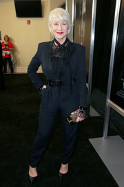 Helen Mirren attended the premiere of 'Winchester' wearing a black tuxedo jumpsuit.