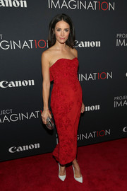 Abigail Spencer looked breathtaking in an embroidered red strapless dress during Canon's Project Imaginat10n Film Festival.