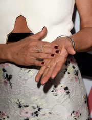 Jennifer Aniston attended the premiere of 'Cake' wearing a teardrop-shaped diamond ring by Jennifer Meyer.