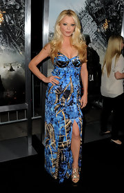Charlotte wears a dramatic blue corset dress with an abstract print for the premiere of 'Battle: Los Angeles.'