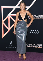 Elizabeth Banks sizzled in a black and silver cutout dress by David Koma at the premiere of 'Charlie's Angels.'