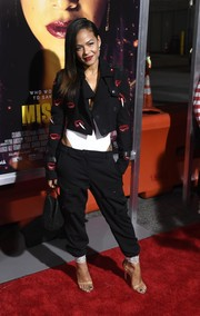 Christina Milian looked cool in a lip-embroidered jacket at the premiere of 'Miss Bala.'