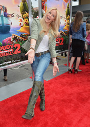 Gena Lee Nolin worked the red carpet in camouflage-green knee-high boots, jeans, and a jacket during the premiere of 'Cloudy with a Chance of Meatballs 2.'