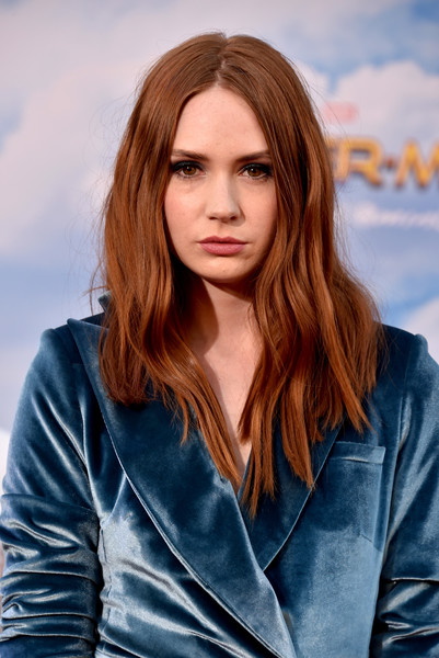 More Pics of Karen Gillan Tuxedo Dress (1 of 5) - Dresses & Skirts Lookbook - StyleBistro [spider-man: homecoming - arrivals,spider-man: homecoming,hair,face,hairstyle,layered hair,long hair,beauty,brown hair,eyebrow,blond,chin,karen gillan,california,hollywood,tcl chinese theatre,columbia pictures,premiere,premiere]