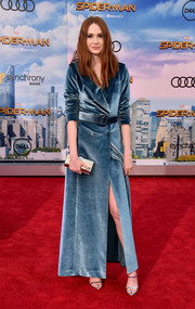 Karen Gillan looked sharp in a teal velvet tuxedo gown by Self-Portrait at the premiere of 'Spider-Man: Homecoming.'