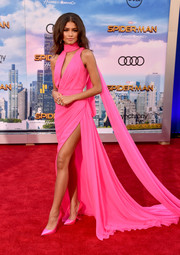 Zendaya Coleman amped up the sweetness with a pair of pink satin pumps by Casadei.