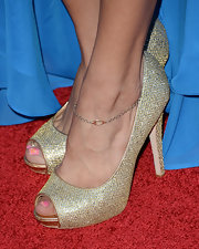 Marisa Saks chose a pair of glittery peep-toes for her glammed-up red carpet look.