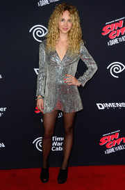Juno Temple looked party-ready in a fully sequined mini dress during the 'Sin City: A Dame to Kill For' premiere.