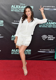 Constance Marie sealed off her look with sexy silver T-strap sandals.