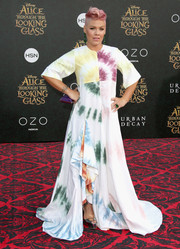 Pink was a hippie princess in this tie-dye patchwork gown by Rosie Assoulin at the premiere of 'Alice Through the Looking Glass.'