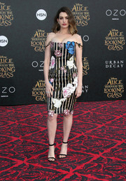 Anne Hathaway was whimsical-chic in a floral-and-striped off-the-shoulder dress by Christopher Kane during the premiere of 'Alice Through the Looking Glass.'