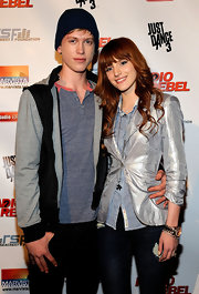 Posing with girlfriend Bella Thorne at the 'Radio Rebel' premiere in LA, Tristan Klier completed his casual look with a blue knit beanie.