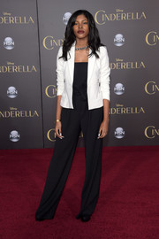 Diamond White's blazer and jumpsuit at the 'Cinderella' premiere were an effortlessly stylish pairing.