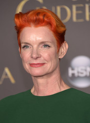 Sandy Powell looked super cool with her short orange 'do at the Hollywood premiere of 'Cinderella.'