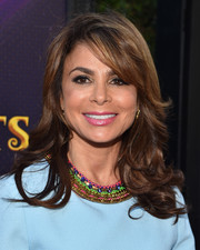 Paula Abdul styled her hair with curly ends and side-swept bangs for the premiere of 'Descendants.'