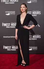Holliday Grainger looked totally alluring at the premiere of 'The Finest Hours' in a black Elie Saab gown with a down-to-the-navel neckline and a high front slit.