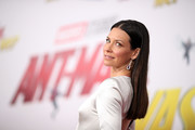 Evangeline Lilly kept it simple with this straight center-parted style at the premiere of 'Ant-Man and the Wasp.'