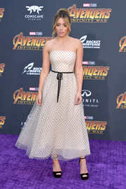 Chloe Bennet went classic and sweet in a strapless dotted dress by Monique Lhuillier at the premiere of 'Avengers: Infinity War.'