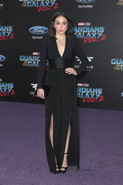 Chloe Bennet looked sharp in a plunging black jumpsuit with split legs at the premiere of 'Guardians of the Galaxy Vol. 2.'