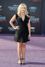 Emily Osment chose a little black dress with a deep-V neckline and subtle ruffle detailing for the premiere of 'Guardians of the Galaxy Vol. 2.'