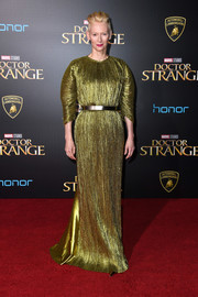 Tilda Swinton looked very fashion-forward in a pleated chartreuse gown by Haider Ackermann at the premiere of 'Doctor Strange.'
