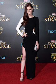 Lydia Hearst cut a modern figure in a leg-flaunting black-and-white cutout gown at the premiere of 'Doctor Strange.'