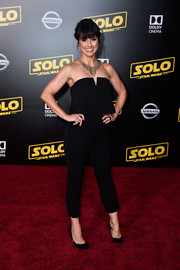 Constance Zimmer chose a strapless black jumpsuit for the premiere of 'Solo: A Star Wars Story.'