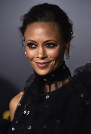Thandie Newton styled her hair into a loose bun for the premiere of 'Solo: A Star Wars Story.'
