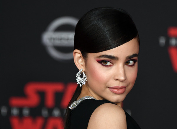 More Pics of Sofia Carson Diamond Hoops (1 of 12) - Hoop Earrings Lookbook - StyleBistro [star wars: the last jedi,hair,face,hairstyle,eyebrow,lip,beauty,skin,head,chin,ear,sofia carson,singer,the shrine auditorium,california,los angeles,disney pictures,lucasfilm,premiere]