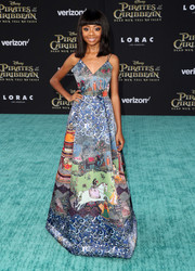 Skai Jackson was picture-perfect at the premiere of 'Pirates of the Caribbean: Dead Men Tell No Tales' in an Alice + Olivia gown featuring a painterly, Eastern-inspired print.