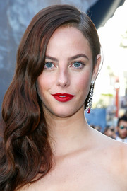 Kaya Scodelario brightened up her look with some red lipstick when she attended the premiere of 'Pirates of the Caribbean: Dead Men Tell No Tales.'